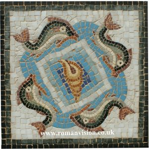FOUR DOLPHINS AND CONCH MOSAIC