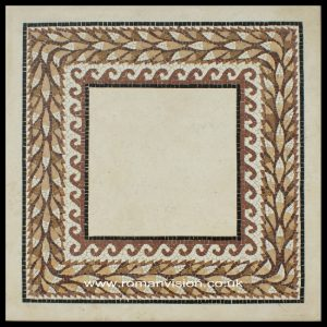 MARBLE MOSAIC WITH LAUREL LEAVES