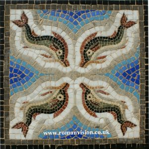 Bathroom Mosaic Tiles – DOLPHINS MOSAIC IN BLUE SEA